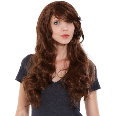 Simplicity Women Curly Cosplay Costume Wigs with Free Wig Cap Light Brown (Brown Hair Wig Halloween)