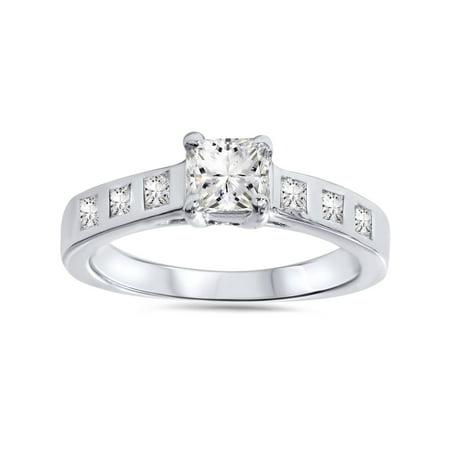 Bezel Setting Engagement Rings (1ct Real  Princess Cut Bezel Real Diamond Engagement Ring 14K White)