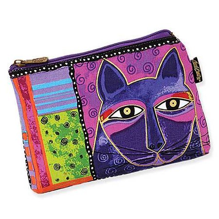 Laurel Burch Purple Whiskered Cats Cosmetic Bag - Whiskers Makeup