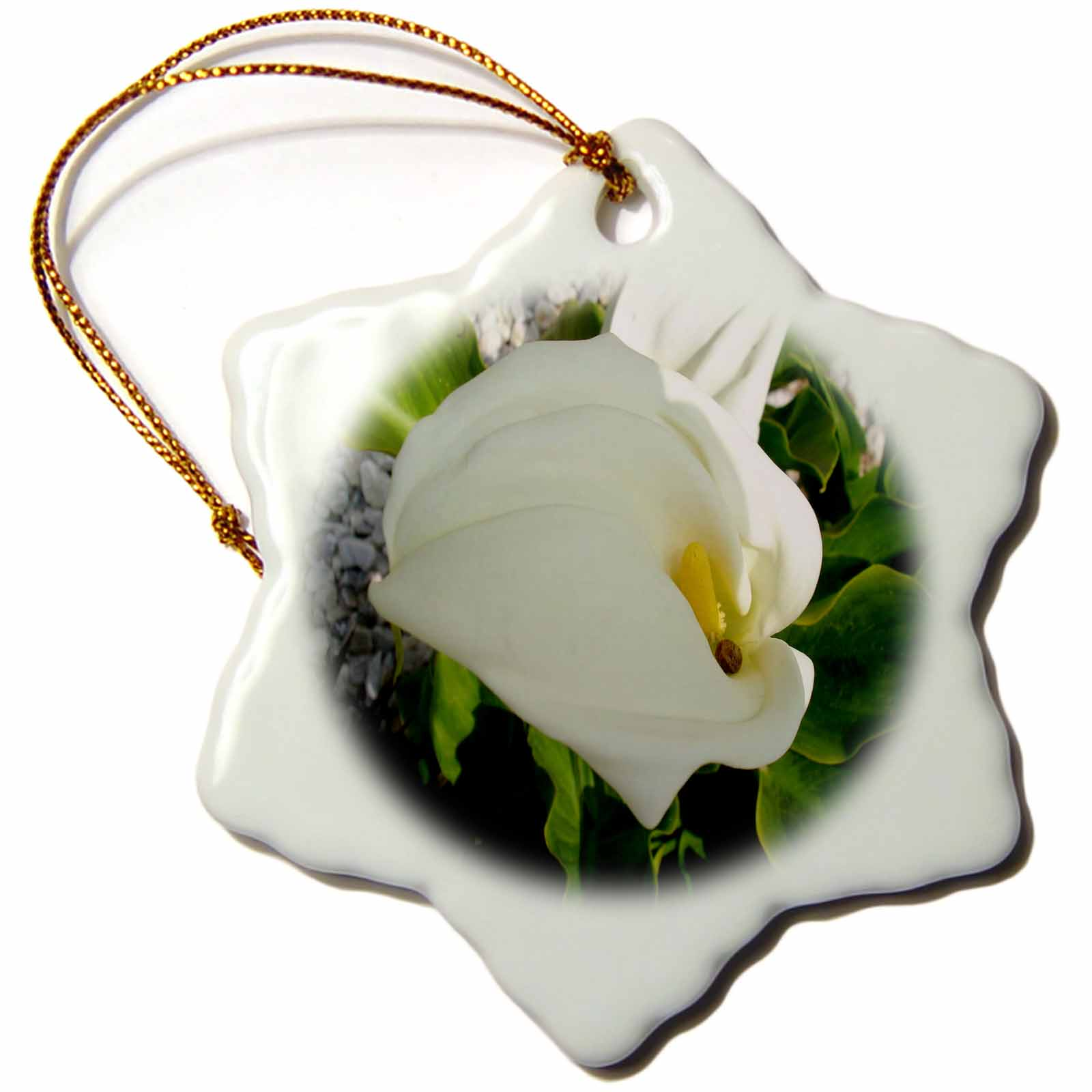 3dRose A Large Single White Calla Lily Flower-Beautiful calla lily flower, snail, Snowflake Ornament, Porcelain, 3-inch