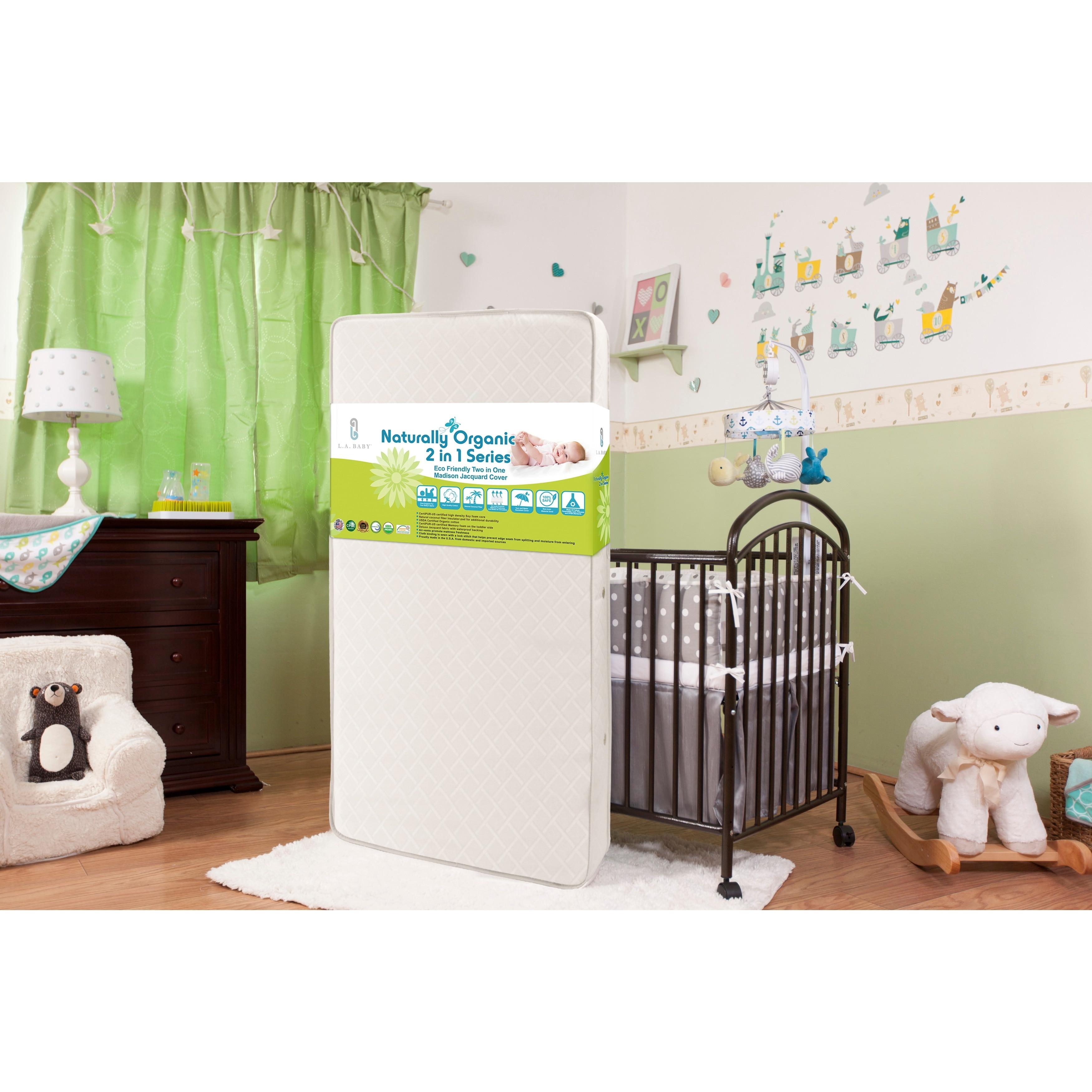 LA Baby Eco Friendly 2 in 1 Soy Foam Crib Mattress with Natural Coconut Fiber & Organic Cotton Layer, White