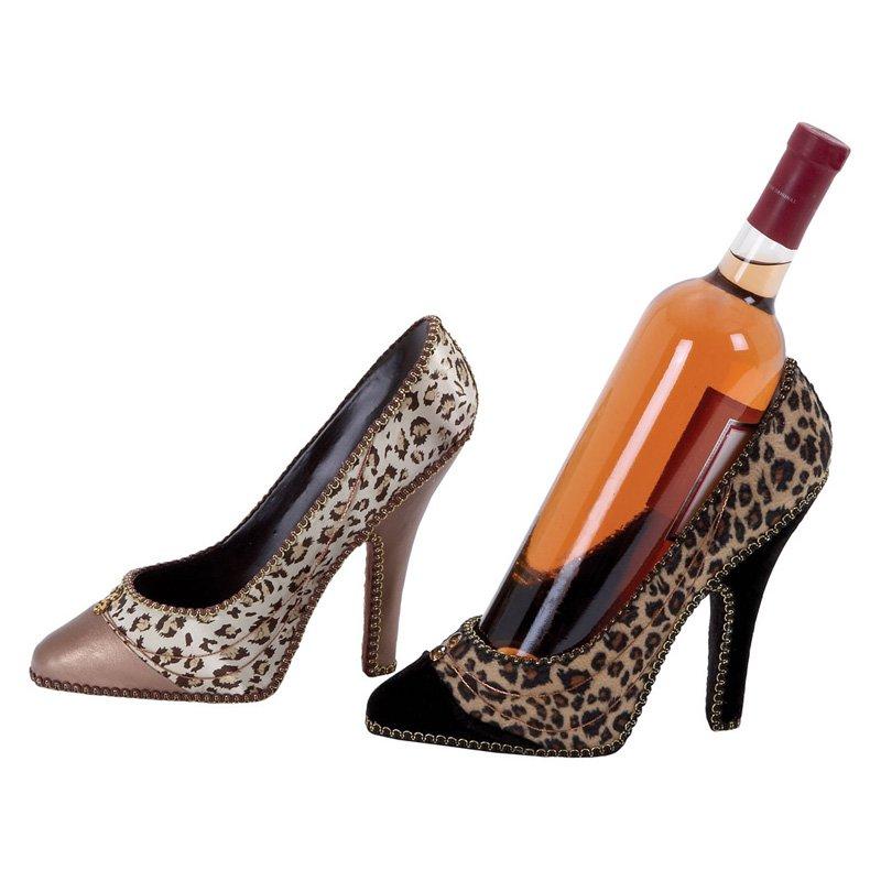 Stylish Set of 2 Womens High Heel Shoe Wine Holders Bar Decor 41626