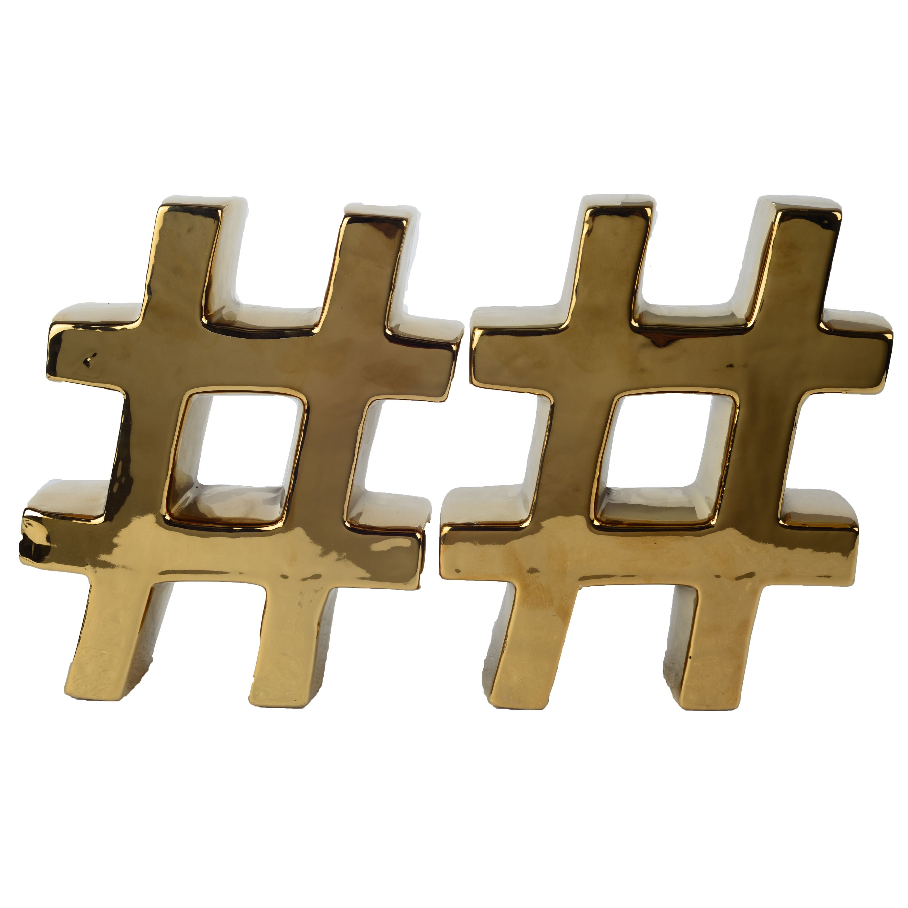A&B Home Urban Vogue Hashtag Bookend, Gold, Set of 2