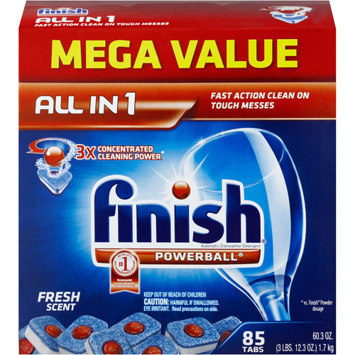 Finish Powerball Tabs Dishwasher Detergent, Fresh Scent, 85 Count
