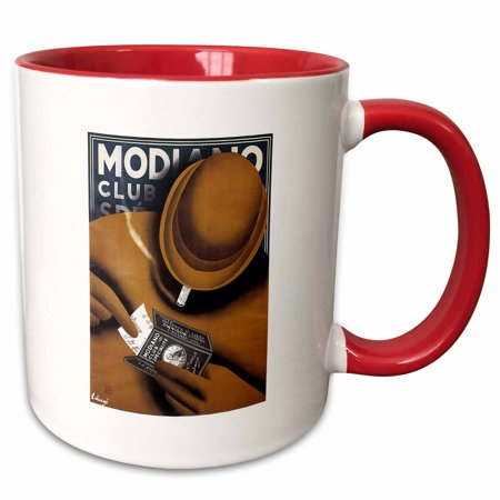 Advertising Cigarette - 3dRose Vintage Modiano Club Cigarette Papers Advertising Poster - Two Tone Red Mug, 11-ounce