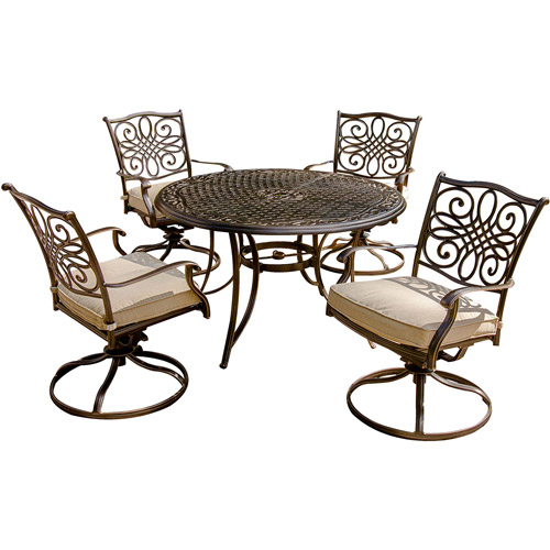 Hanover Traditions 5-Piece Swivel Rocker Outdoor Dining Room Set by Hanover