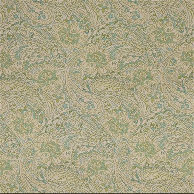 Designer Fabrics K0140A 54 in. Wide Green, Blue And Beige Floral And Paisley Woven Solution Dyed Indoor & Outdoor Upholstery Fabric