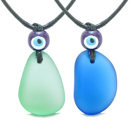 Free Form Unique Sea Glass Ocean Blue Mint Green Love Couples BFF Set Protection Amulet Drop (Free Glasses Uk)