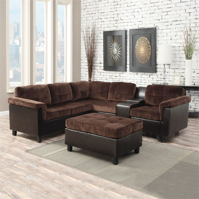 ACME Cleavon Reversible Sectional Sofa, Chocolate Champion & Espresso PU by Acme Furniture
