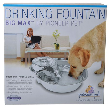 Pioneer Big Max Stainless Steel Drinking Fountain 128 (Pioneer Pet Drinking Fountain Raindrop Design Stainless Steel)