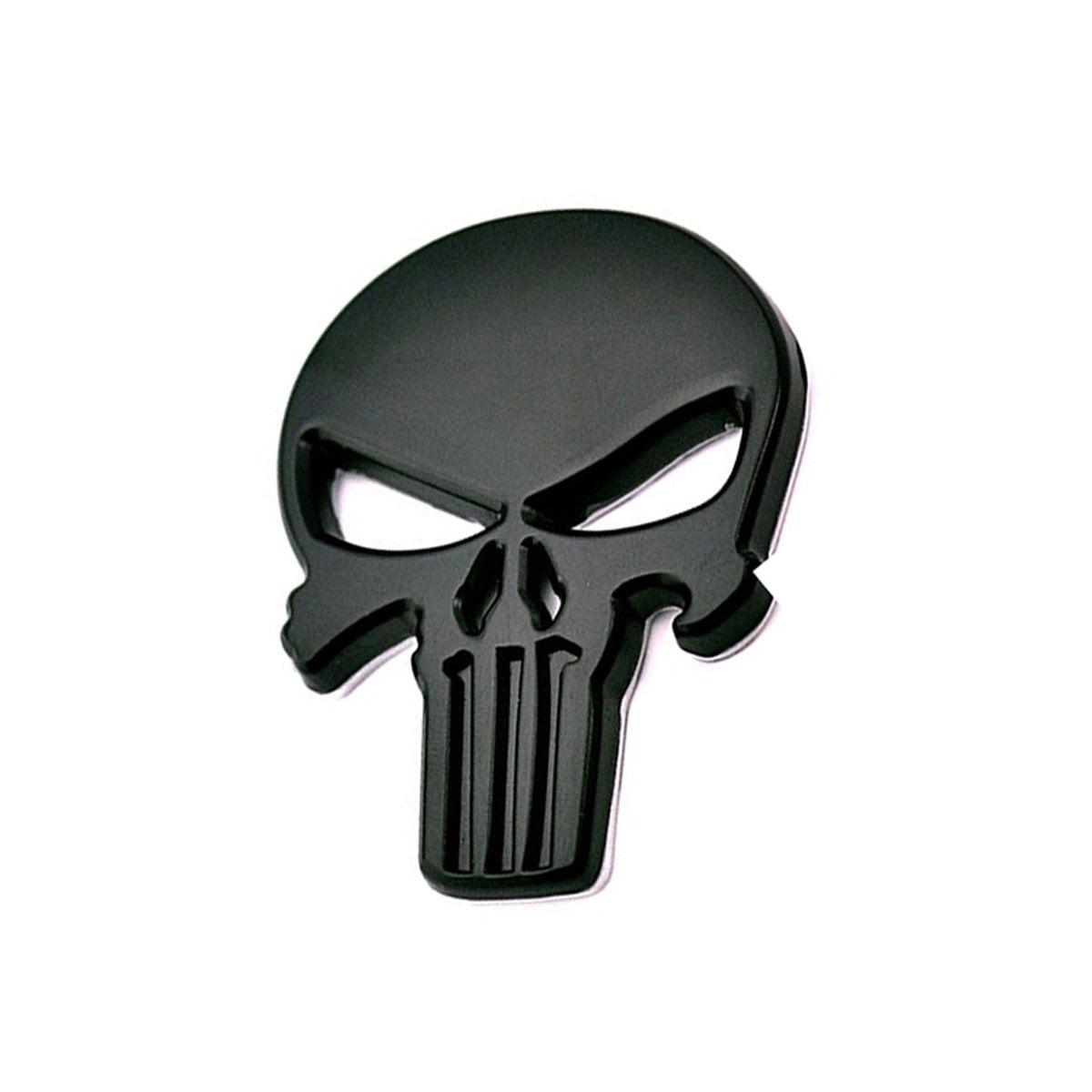 3D Matte Black Car Badge Skeleton Punisher Skull Emblem Metal Decal Stickers