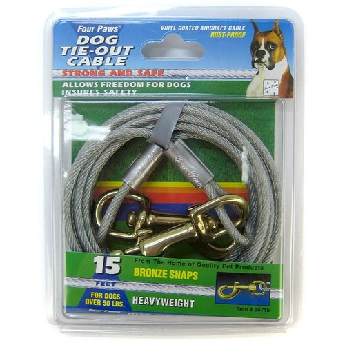 Four Paws Tie-Out Cable - Heavy Weight 15 Foot Cable