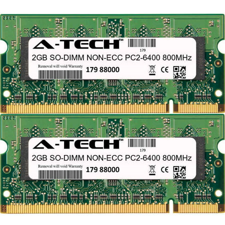 4GB Kit 2x 2GB Modules PC2-6400 800MHz NON-ECC DDR2 SO-DIMM Laptop 200-pin Memory -