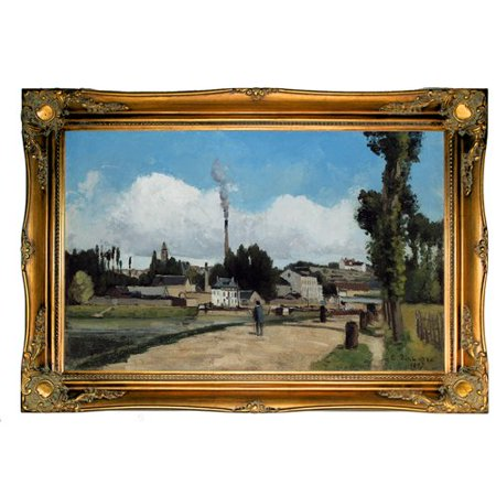 Astoria Grand Banks Of The Oise At Pontoise 1867 By Camille Pissarro Framed Graphic Art Print On Canvas