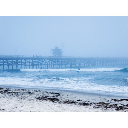 San Clemente Pier with Surfers on a Foggy Day, California, United States of America, North America Print Wall Art By Mark Chivers ()