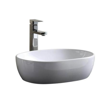 Modern Vitreous China Oval Vessel Bathroom Sink
