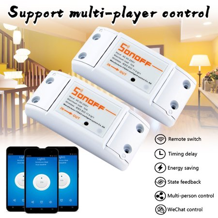 Sonoff Smart Wifi Switch Wireless ON/Off Controller,Voice Control&APP Remote Control Support Android, Apple iOS, 7A/1500W