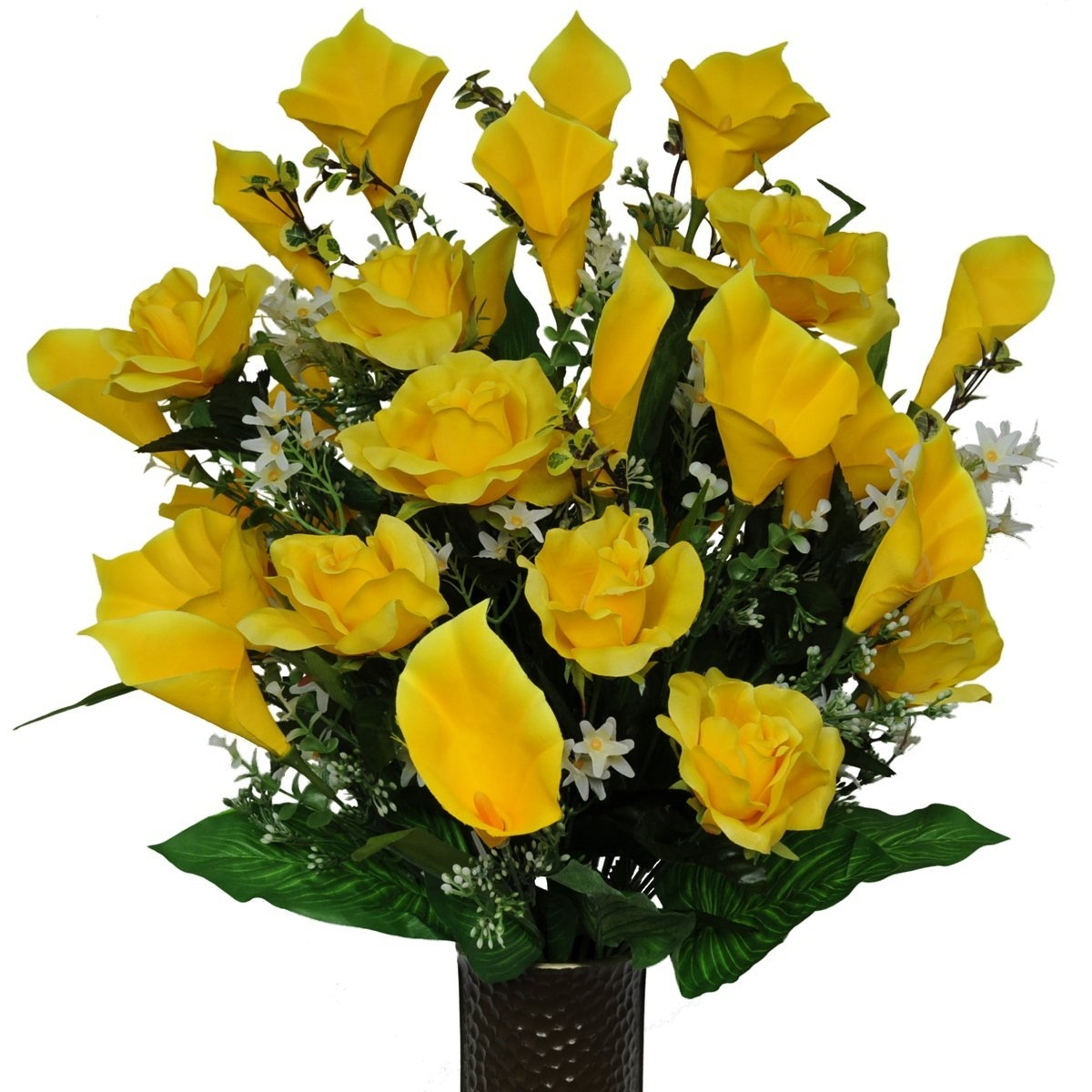 Yellow Rose and Calla Lily Mix Artificial Bouquet, featuring the Stay-In-The-Vase Design(c) Flower Holder (MD1138)