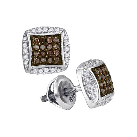 10kt White Gold Womens Round Cognac-brown Color Enhanced Diamond Square Cluster Earrings 1/3 Cttw - image 1 of 1