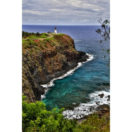 - A lighthouse at the end of a trail above a cliff along the coast Kilauea Point Hawaii United States of America Stretched Canvas - Scott Mead  Design Pics (12 x 19)