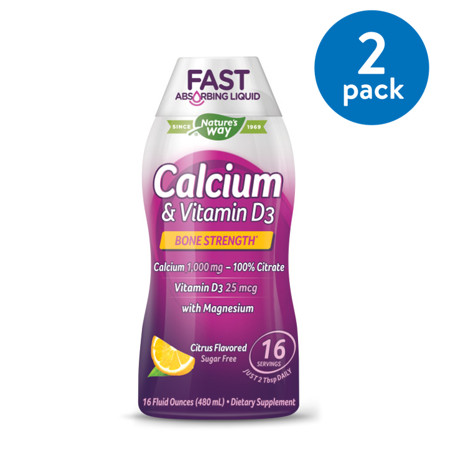 - (2 Pack) Nature's Way Calcium & Vitamin D3, Liquid Dietary Supplement, Citrus, 16 Oz