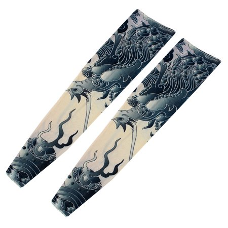 Unique Bargains 2 Pcs Griffin Pattern Fake Tattoo Sport Arm Sleeves