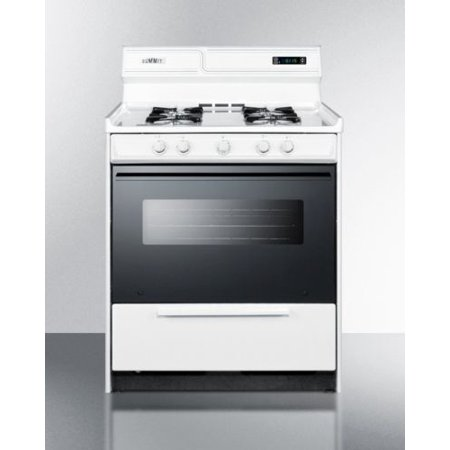 """Summit 30"""" Deluxe Gas Range with Electronic Ignition - White"""