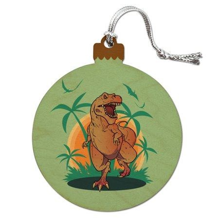 Dinosaur Tyrannosaurus Rex Running Wood Christmas Tree Holiday Ornament - Dinosaur Ornament