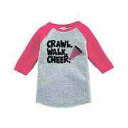7 ate 9 Apparel Kids Crawl Walk Cheer Pink Baseball Tee Youth Large