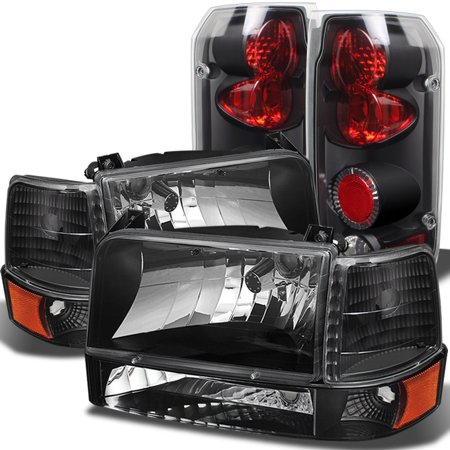 1948 Tail Light (Fits 1992-1996 Ford Bronco F150 F250 F350 Black Headlights+Corner+Bumper+Black Tail)