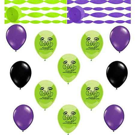 Incredible Hulk Coordinating Colors Streamers and Balloon Room Decorating - Glow In The Dark Streamers And Balloons