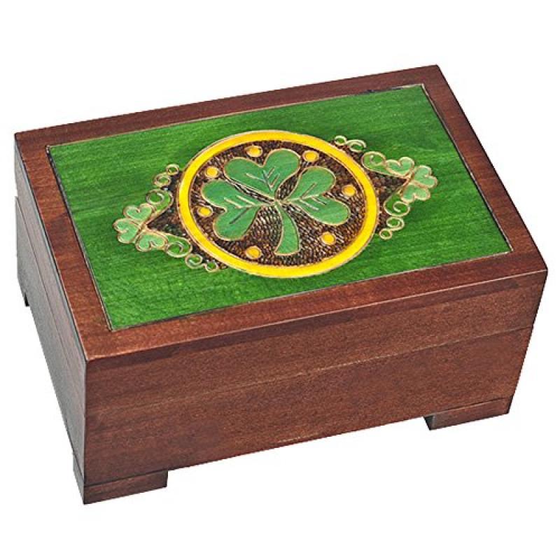 Celtic Shamrock Keepsake Jewelry Polish Wooden Box