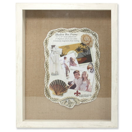 11x14 Ivory Front Hinged Shadow Box Frame - Burlap Display Board