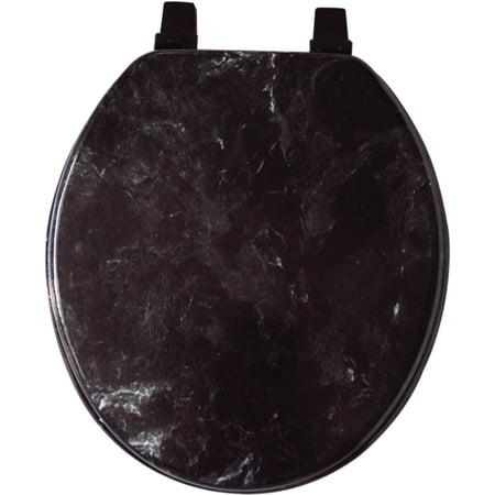 - BLACK MARBLE LOOK WOOD VENEER TOILET SEAT, STANDARD SIZE ROUND