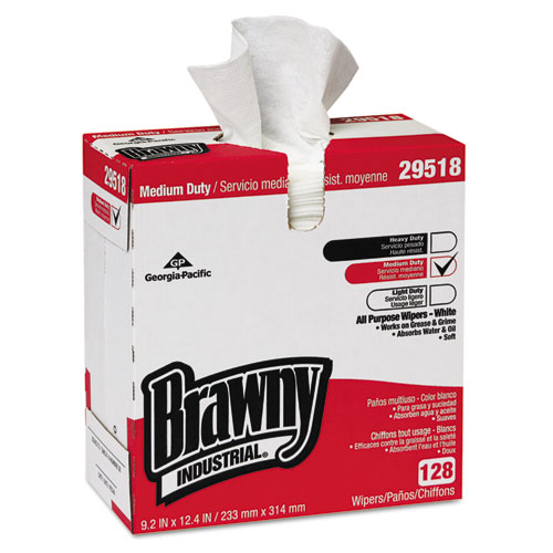 Brawny Industrial Medium Duty All Purpose Wipers, White, 128 sheets, 10 count