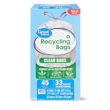 Clear Drawstring Bags (Great Value Clear Recycling Bags, 33 Gallon, 45)