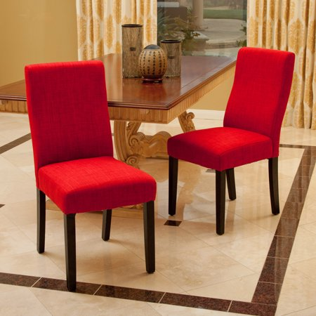 Noble House Gable Red Fabric Dining Chair (Set of 2) ()