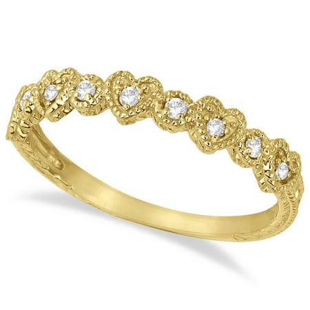 Pave Set Heart Design Diamond Ring Band 14k Yellow Gold (Pave Diamond Heart Ring)