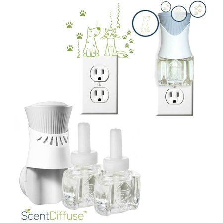 ScentDiffuse Pet Odor Deodorizing Starter Kit (2) Refills and 1 Air Wick Oil