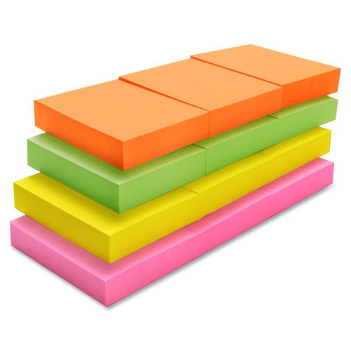 Sparco Products Adhesive Note Pads, Plain, 1-1/2''x2'', 12 Pack: Orange, Green, Yellow, Pink