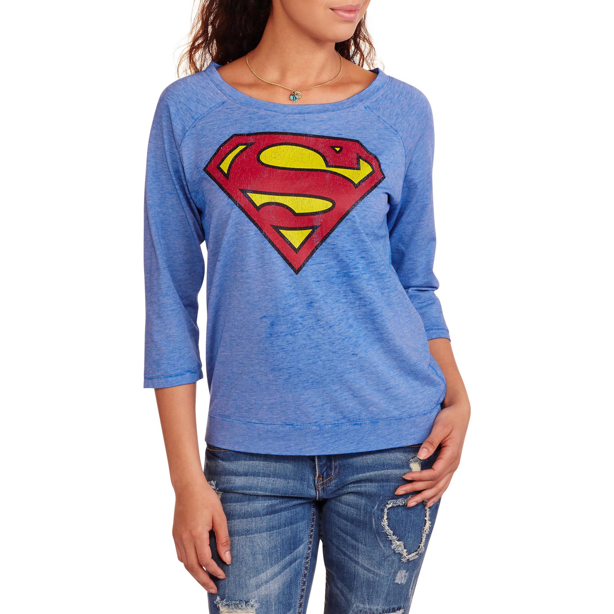 Superman Juniors' Logo Graphic Burnout Raglan Sleeve Graphic Tee