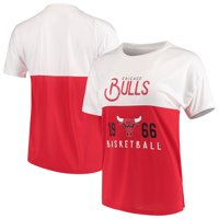 Chicago Bulls FISLL Women's Interlock Mesh Combo Short Sleeve T-Shirt - White/Red