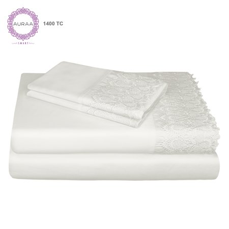 1400 Print (Auraa Smart 1400 TC Cotton Rich Lace Queen Sheet Set)