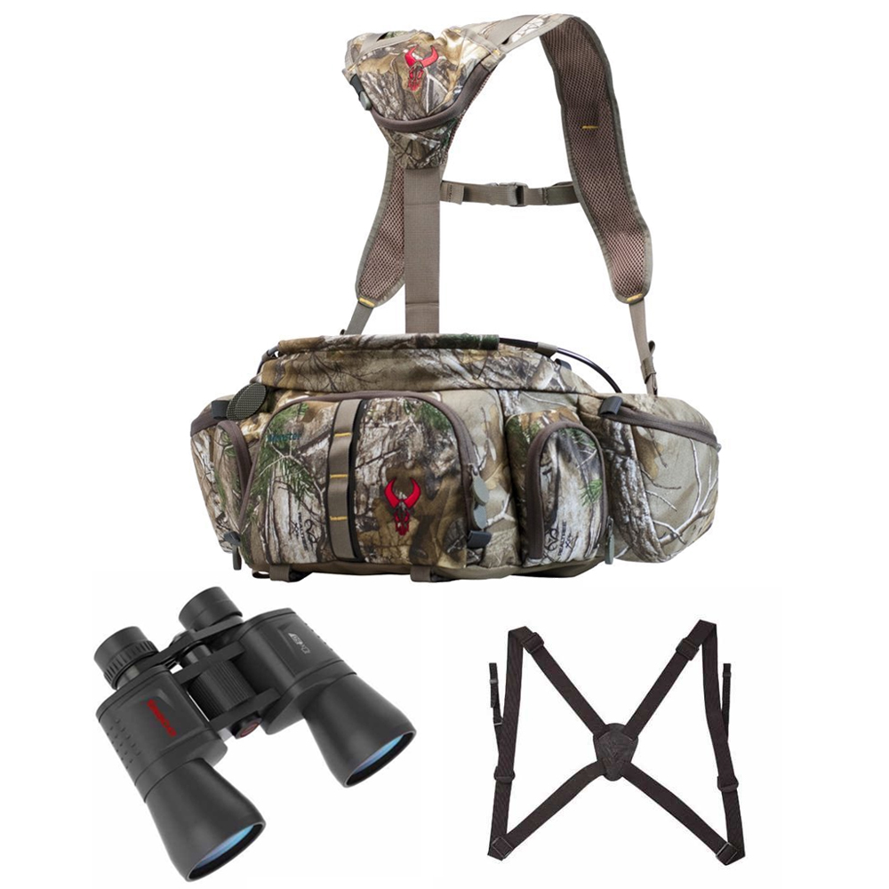 Click here to buy Badlands Monster Camo Fanny Pack & Tasco 10x50 Hunting Binoculars & Bino Strap by Badlands.