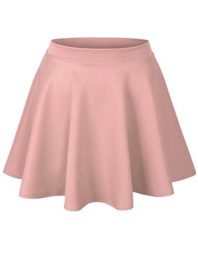 KOGMO Womens Basic Solid Versatile Stretchy Flared Casual Skater Skirt