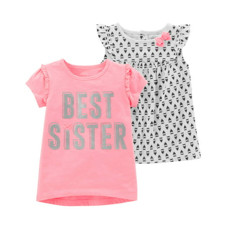 Toddler Girl Short Sleeve T-Shirt & Sleeveless Top, 2-Pack