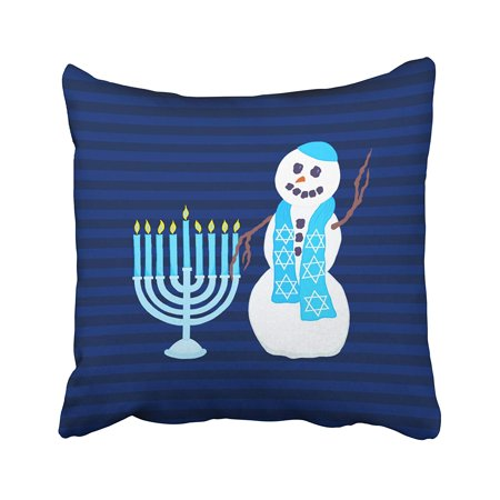 BPBOP Holiday Hanukkah Jewish Snowman Blue Menorah Holiday Pillowcase Throw Pillow Cover 16x16 inches](Hanukkah Decor)