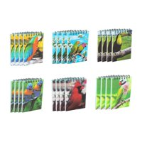 Spiral Notepad - 24-Pack Top Spiral Notebooks, Bulk Mini Spiral Notepads for Note Taking, To-do Lists, Kids Party Favors, Lined Paper, 6 Tropical Birds 3D Cover Designs, 2.75 x 4.25 Inches