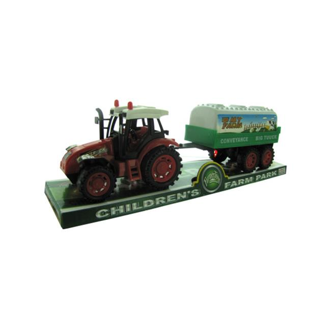 Bulk Buys OC773-12 Friction Farm Tractor Truck and Trailer Set by