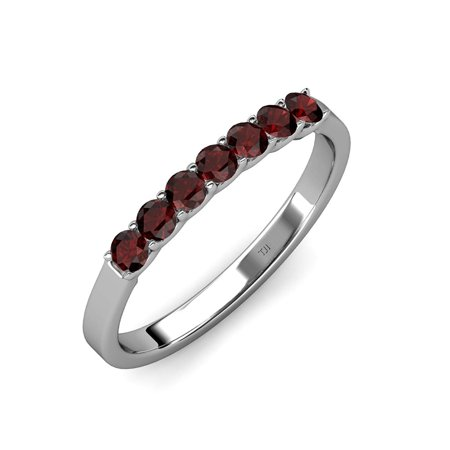 Red Garnet 7 Stone Wedding Band 0.59 ct tw in 14K White Gold.size 8.5